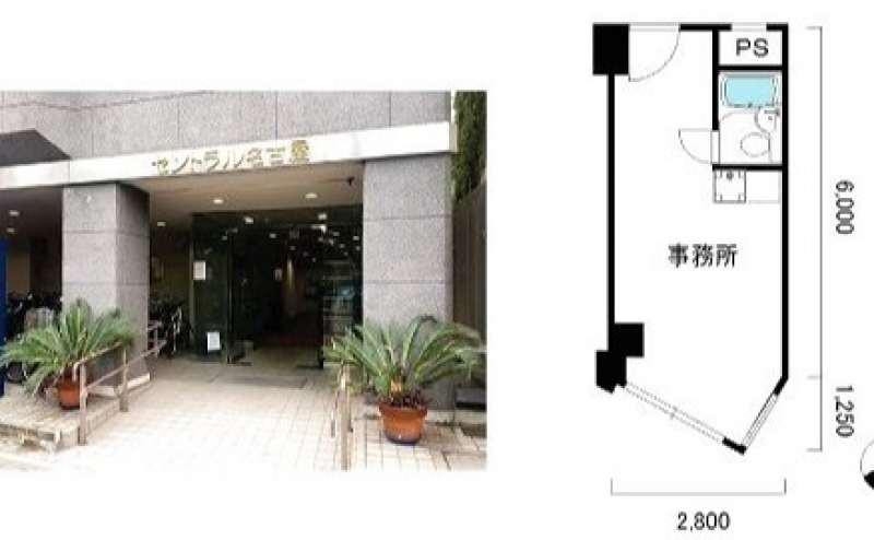おてがる会議室in758 Share8P『スマイル』の建物入り口と間取り図