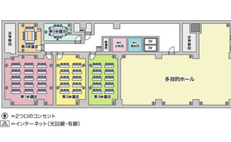 間取り図。大小様々なサイズの会議室が10室ございます。組み合わせてご予約も可能ですので、ぜひ、お問い合わせください
