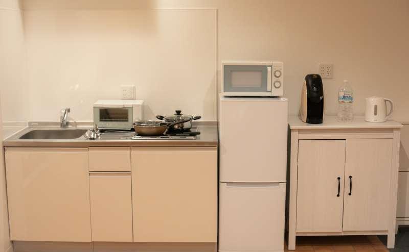キッチンで簡単な調理可能です。