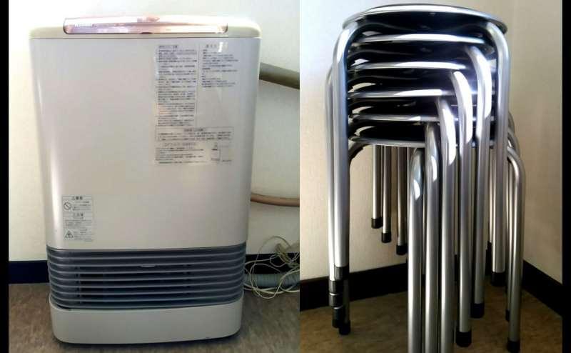 ガスファンヒーターと丸椅子