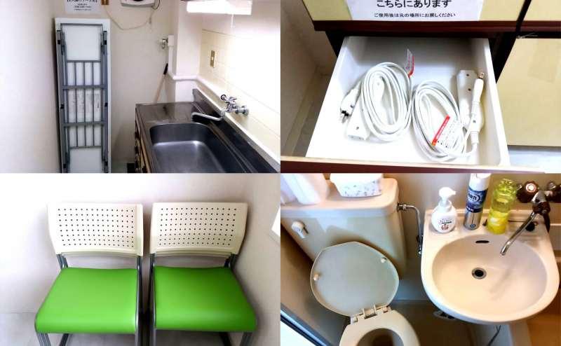 延長コード・予備長机・スタッキングチェア・トイレ 設備も充実