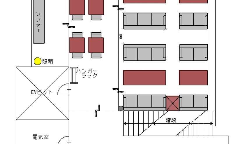 地下2階 全体図 【ソファー席、小スペース、バーカウンター】
